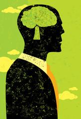 Businessman thinking green