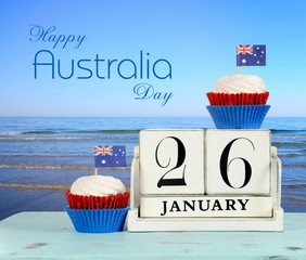 Happy Australia Day, January 26, calendar  and sea beach