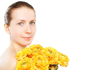 Beauty portrait woman and yellow flowers on a white background