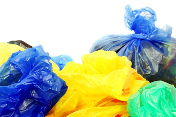 A lot of plastic bags on a white background