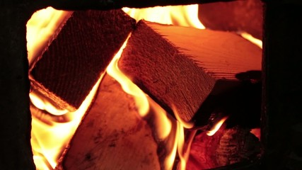 wood burning in the oven