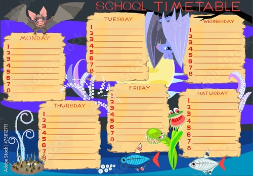 School timetable with monsters - 75812711