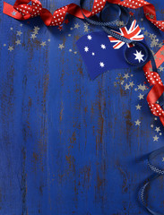 Happy Australia Day theme dark wood background
