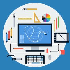Web design flat vector concept