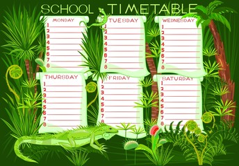 School timetable with green iguana