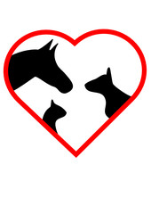 Tiersymbole im Herz