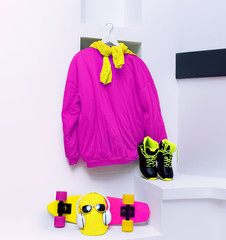Set skateboarder. Accessories. Skateboard, sweatshirt, sneakers,