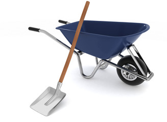 Garden tools. Garden wheelbarrow and a shovel