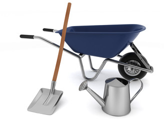 Garden tools. Garden wheelbarrow, watering can and shovel