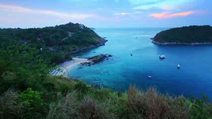 Time lapse of tropical lagoon with beach. Phuket, Thailand