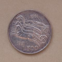 Italian 500 Lire coin
