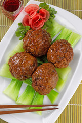 Asian Meatballs and Vegetables with red wine
