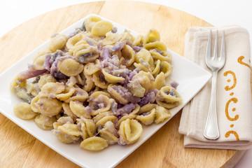 Orecchiette pasta with purple cauliflower