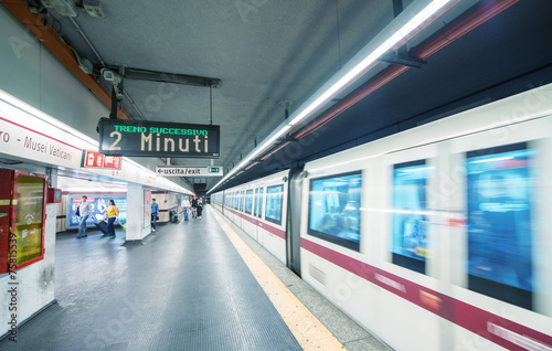 Aluminium Rome ROME - MAY 17, 2014: Tourists walk in city subway station. More