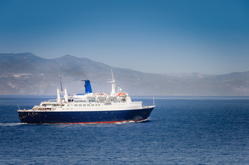 cruise ship arriving in port of Athens