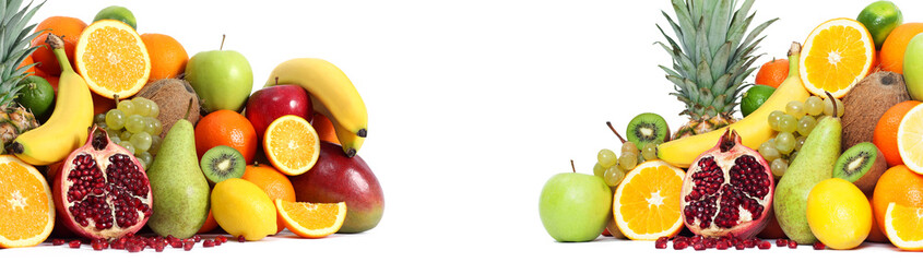 Fresh mixed fruits backgound both side