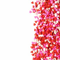 Valentines Day candy heart border of sprinkles