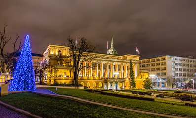 Office of the President of Serbia at night in Belgrade
