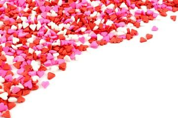 Valentines Day candy heart corner border of sprinkles