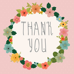 Thank you card. Bright floral frame on pink background