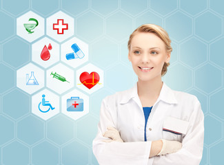 smiling doctor over medical icons blue background