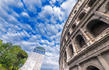 Rome, Italy. Magnificence of Colosseum on a beautiful sunny day