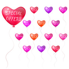 Balloons with discounts in the form of hearts