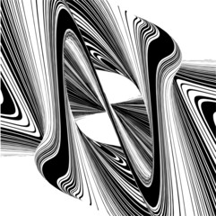 Letter N In Geometric Twisted Wave Shape Vector