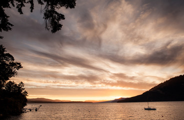 sunset over an island hill near Victoria, BC, Canada