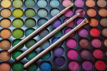 Womans Cosmetic palette and brushes