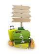 Baggage and wooden sign
