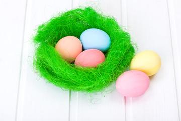 Easter eggs in green nest