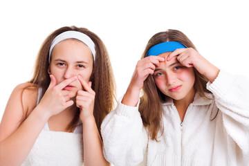 Teenager's skin problem concept