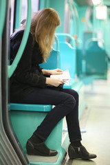 Passenger sitting in the bus