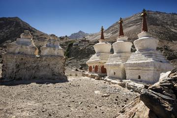 Three stupa and blue sky at Diskit monastery, Ladakh