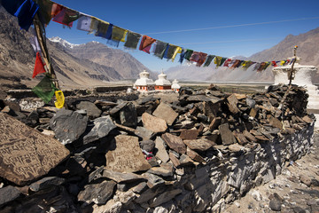 Stupa and player flags near Diskit monastery in Ladakh