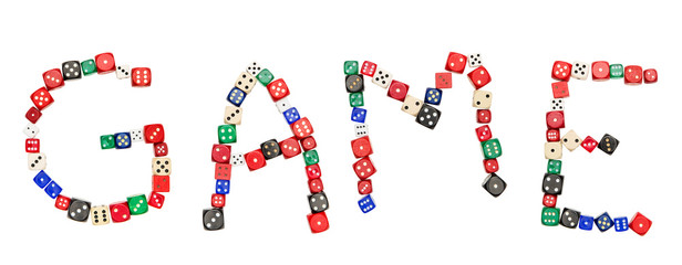 The text GAME in form of dice