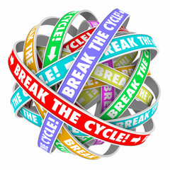 Break the Cycle Words Around Rings Endless Repeating Pattern