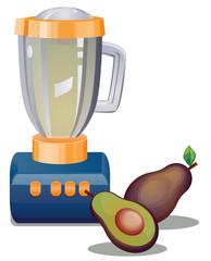 Blender and avocado fruit vector