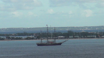 Sailing ship near St Maarten in the Caribbean