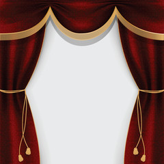 Theater curtain decorated with fringe and tassels