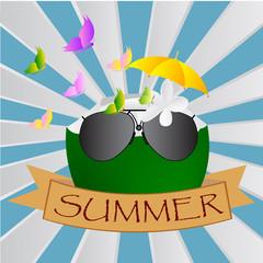 Summer design over a blue background, vector illustration.