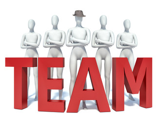 Group of 3d people standing next to the word team