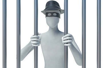 3d man behind bars