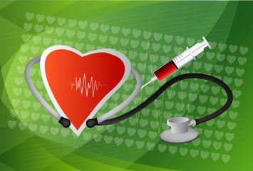 Heart symbol and stethoscope with normal electrocardiogram line,