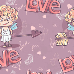 Seamless texture for Valentine's Day with the image of Cupid