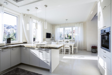 Kitchen connected with eating area