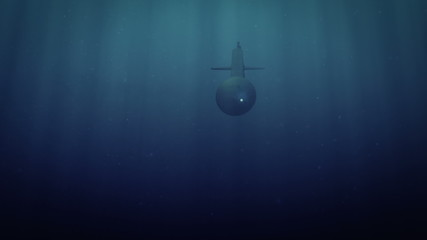Computer generated submarine launching torpedos