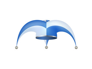 Jester hat in white and blue design