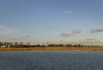 Birds above lake.